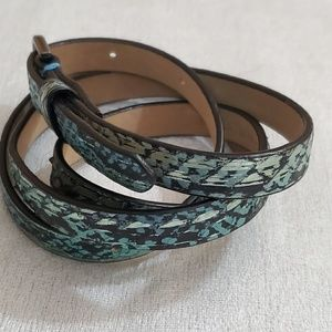 Ann Taylor Teal Animal Print Skinny Belt (S) #653